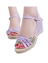 LKOMARKET Women's wedge heel platform sandals Roman thick bottom female shoes