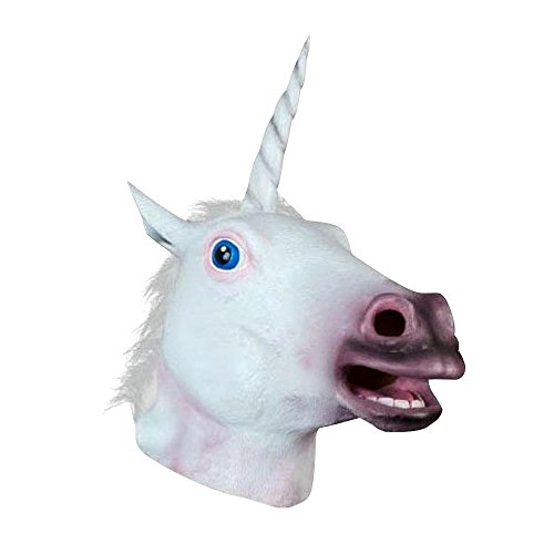 JRing Unicorn Head Mask Caballo de Latex para Traje Fancy Dress Party Halloween, Espeluznante Adult Unicorn Cabeza de Latex de Caucho Mascara (Unicornio)