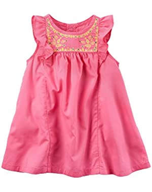 Baby Girls' Flutter Sleeve Linen Dress