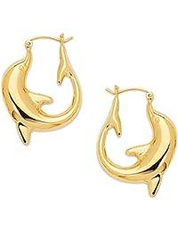 14k Yellow Gold Dolphin Hoop Earrings - 15 mm X 20 mm