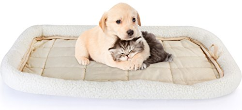 Fleece Pet Bed - Ultra Soft & Durable Pet Bed for Cats and Dogs - Bolster Padding - By Utopia Home (Regular)