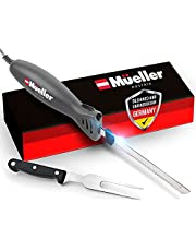 Mueller Ultra-Carver Electric Knife for Carving Meats, Poultry, Bread, Crafting Foam. Stainless Steel Blades, Powerful Motor, Ergonomic Handle, One-Touch On/Off Button, Serving Fork Included. White