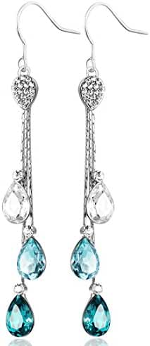 Neoglory Jewelry Teardrop Made with Swarovski Element Crystal Three Colors Drop Earrings 3.14