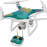 MightySkins Protective Vinyl Skin Decal for DJI Phantom 4 Quadcopter Drone wrap cover sticker skins Watercolor Blue