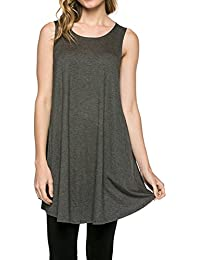 Solid Basic Long Tank T-Shirt Tunic (S-3X) - Made in USA