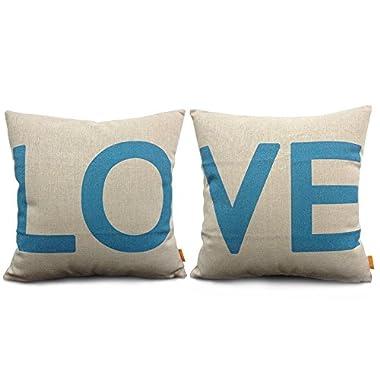 18 X 18  Decorative Cotton Linen Throw Pillow Cover Cushion Case Couple Pillow Case, Set of 2 - Love (Blue)