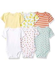 Amazon Essentials Girls' Baby 6-Pack Short-Sleeve Bodysuit