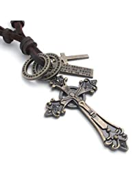 Konov Jewelry Mens Womens Celtic Cross Pendant Adjustable Leather Rope Necklace & Chain, Brown, with Gift Bag, C21773