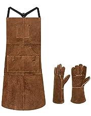 "eletecpro Length 42"" 6 Pockets Leather Welding Apron & Welding Gloves Men/Women"
