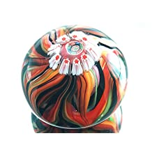 Murano Design Mouth Blown Rainbow Flame Pattern Millefiori Art Glass Paperweight PW-1113