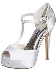LOSLANDIFEN Womens Peep Toe T-Strap Sandals Stain Platform High Heels Wedding Party Shoes