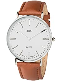 MDC Mens Classic Brown Leather Watch Slim Business Casual...