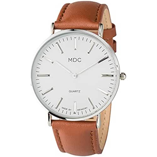 MDC Mens Classic Brown Leather Watch Slim Business Casual Minimalist Wrist Watches for Men