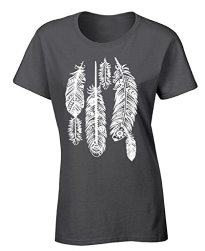 icustomworld Women's Feathers T-shirt White Native American Indian Tribal Shirt