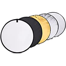 TOMTOP 24-Inch 60cm 5 in 1(Gold, Silver, White, Black and Translucent) Portable Photography Studio Multi Photo Disc Collapsible Light Reflector (Photography accessories) (Collapsible)