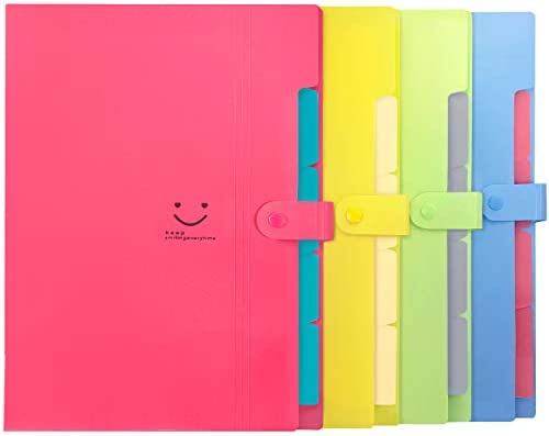 Initial heart 4 Colored Expanding File Folders with 5 Pockets Accordion Folder Organizer A4 Letter Size Plastic Snap Closure Paper Organizer Document Holder for School Office Travel