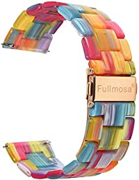 5 Colors for Quick Release Watch Band 20mm 18mm 22mm, Fullmosa Bright Resin Replacement Watch Strap 20mm Rainbow