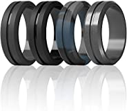 ThunderFit Silicone Wedding Rings for Men - 7 Rings / 4 Rings / 1 Ring Brushed Top Middle Engraved Line Rubber