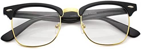 Vintage Inspired Classic Half Frame Clubmaster Horn Rimmed Clear Lens Glasses