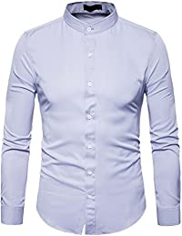 Mens Solid Slim Fit Long Sleeve Mandarin Collar Casual Button Down Shirt