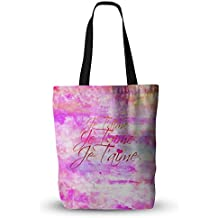 """KESS InHouse Ebi Emporium """"Je T'aime II"""" Abstract Pink Everything Tote Bag, 13"""" x 13"""", Multicolor"""