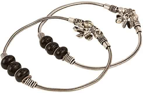2 pc Bracelet Foot Jewelry Efulgenz Boho Vintage Antique Ethnic Gypsy Tribal Indian Oxidized Silver Coin Anklet Pair