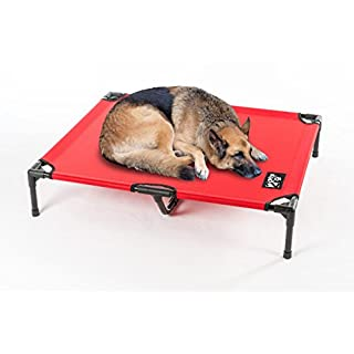 2PET Elevated Cooling Pet Bed, Pet Cot, Dog Bed with New Improved 1680D Nylon Fabric, Orthopedic, Easy Clean for Small, Medium, Large, Extra Large All Breeds Non Meshed L-Red