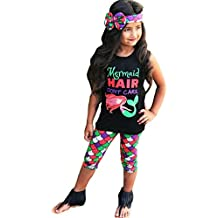 DiDaDo Mermaid Hair Don't Care 3PC Toddler Baby Girls Cute Mermaid Print T-Shirt + Pants With Headband Outfit Clothing Sets
