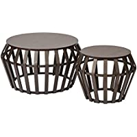 Office Star Solana 2 Piece Round Accent Table Set, Metal Frame and Espresso Wood Finish Top