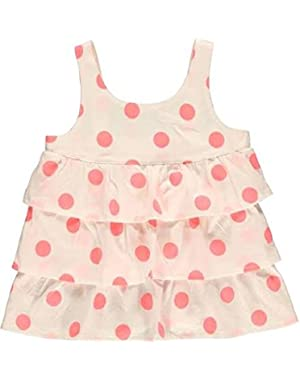 Girls Ruffle Dots Tunic Tank Top (24 Months, Ivory Coral)