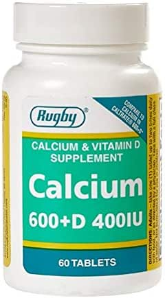 RUGBY Calcium 600MG Plus D Calcium CARBONATE-600 MG Pale Pink 60 Tablets UPC 005363424081