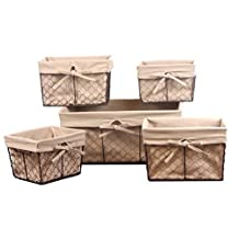 DII Home Traditions Vintage Metal Chicken Wire Storage Basket with Removable Fabric Liner, Set of 5 Mixed Nesting Sizes, Natural