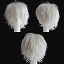 S-noilite Cosplay Curly Hair Tail Full wigs Short White Wig Women/Men Wig US Local Store