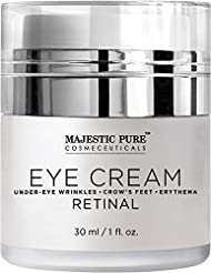 Under Eye Cream by Majestic Pure - Age Defying Retinal - Reduces the Appearances of Wrinkles, Dark Circles, Puffiness, Crow Feet and Hyperpigmentation, 1 fl. oz.