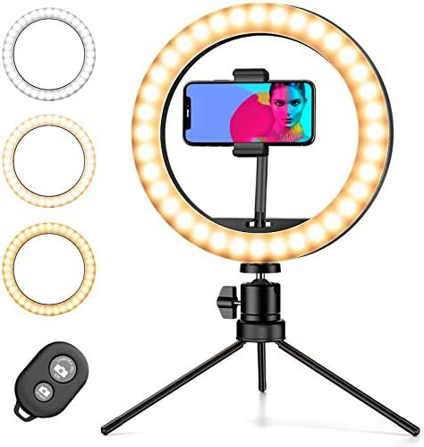 Amada Ring Light with Stand, with Phone Holder and Tripod Stand, Bluetooth Remote Control 3 Light Modes 10 Brightness Levels, Desk Makeup Light for Live Stream,YouTube Video, Vlogs.