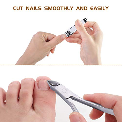 Professional Pedicure Kit 18 in 1, Inpher Stainless Steel Rasp Foot Double Sided Files and Callus Clean Feet Dead Skin Tool Set, Nail Toenail Clipper Foot Care Kit for Women Men Salon or Home