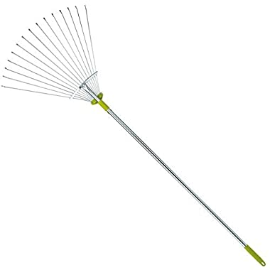 63 Inch Adjustable Garden Leaf Rake - Expanding Rake - Adjustable Folding Head From 7 Inch to 22 Inch. Ideal Camp Rake