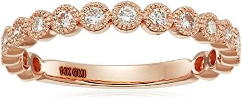 14k Gold Diamond Milgrane Set Stackable Ring (1/2cttw, I-J Color, I1 Clarity)