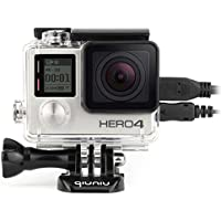 Qiuniu Side Open Protective Skeleton Housing Case with LCD Touch Backdoor for GoPro HERO 4, HERO 3, and HERO 3+ - Transparent