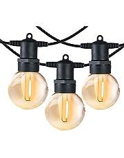 Shineled Lichtsnoer voor buiten, 12 G40 Globe plastic ledlampen met 2 reservelampen, IP65 waterdicht, voor binnen en buiten, party, festival (7,65 m)