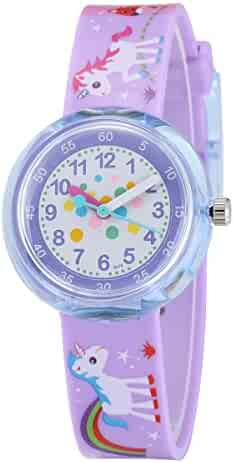 Jewtme Cute Toddler Children Kids Watches Ages 5-8 Analog Time Teacher 3D Silicone Band Cartoon Watch for Little Girls Boys-Horse Purple