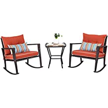Tangkula 3 PCS Patio Rattan Wicker Furniture Set Outdoor Garden Glass Top Coffee Table & Rocking Wicker Chair Set w/ Red Cushions (red)