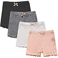 Auranso Girls Dance Bike Shorts, 4 Pack Little Big Girl's Dance Undershorts for Sports, Play or Under Skirts