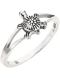 Sterling Silver Solitaire Sea Turtle Honu Ring (Sizes 2-15)