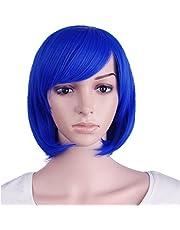 "(Navy Blue) - MapofBeauty 12""/30cm Short Straight Diagonal Bangs Wig (Navy Blue)"
