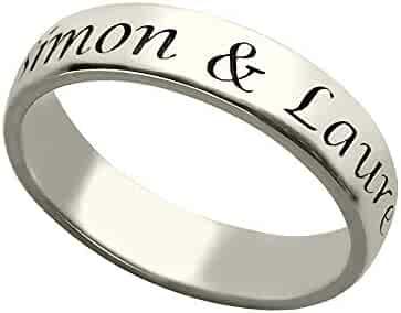 Hua Meng 925 Sterling Silver Unisex Name Ring Personalized Engraved Ring Custom Made with Any Names