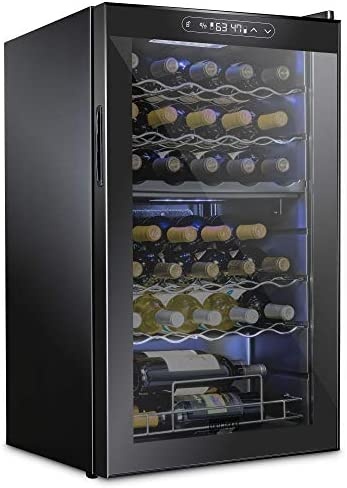 Schmecke 33 Bottle Dual Zone Wine Cooler Refrigerator w/Lock | Large Freestanding Wine Cellar | 41f-64f Digital Temperature Control Wine Fridge For Red, White, Champagne or Sparkling Wine - Black