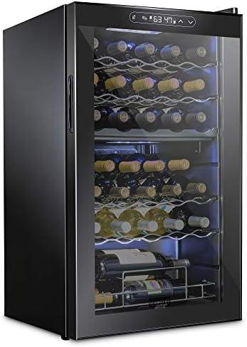 Schmecke 33 Bottle Dual Zone Wine Cooler Refrigerator w/Lock   Large Freestanding Wine Cellar   41f-64f Digital Temperature Control Wine Fridge For Red, White, Champagne or Sparkling Wine - Black