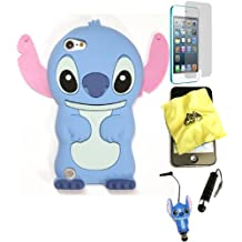 Bukit Cell Bundle: BLUE 3D Cute StitchSilicone Fun Lovely Case for iPod Touch 6th/ 5th + BUKIT CELL Cloth + Stitch Figure Stylus Touch Pen + Screen Protector + Bukit Cell METALLIC Stylus Pen