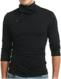 Men's Casual Solid Color High Neck Buttons Up Long Sleeve T-Shirt